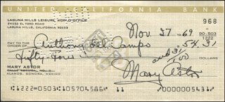MARY ASTOR - AUTOGRAPHED SIGNED CHECK 11/27/1969 CO-SIGNED BY: ANTHONY PAUL DEL CAMPO