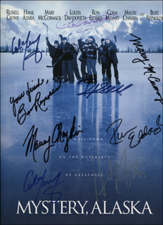 MYSTERY, ALASKA MOVIE CAST - PRESS KIT SIGNED CO-SIGNED BY: BURT REYNOLDS, RUSSELL CROWE, HANK AZARIA, MARY McCORMACK, RON (RONALD JASON) ELDARD, LOLITA DAVIDOVICH, MAURY CHAYKIN, COLM MEANEY