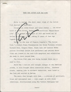 Autographs: FRANCIS FORD COPPOLA - PRESS RELEASE SIGNED