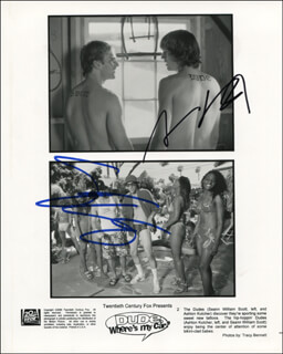 DUDE, WHERE''S MY CAR? MOVIE CAST - PRINTED PHOTOGRAPH SIGNED IN INK CO-SIGNED BY: SEANN WILLIAM SCOTT, ASHTON KUTCHER