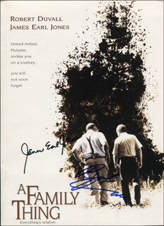 Autographs: A FAMILY THING MOVIE CAST - PRINTED PHOTOGRAPH SIGNED IN INK CO-SIGNED BY: JAMES EARL JONES, ROBERT DUVALL