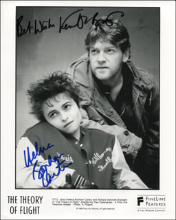 THE THEORY OF FLIGHT MOVIE CAST - PRINTED PHOTOGRAPH SIGNED IN INK CO-SIGNED BY: SIR KENNETH BRANAGH, HELENA BONHAM CARTER