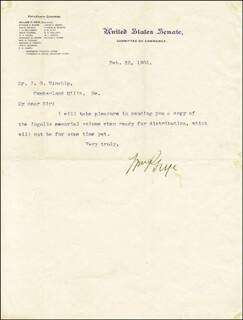 WILLIAM P. FRYE - TYPED NOTE SIGNED 02/22/1905