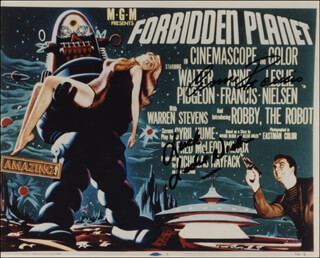 FORBIDDEN PLANET MOVIE CAST - PRINTED PHOTOGRAPH SIGNED IN INK CO-SIGNED BY: ANNE FRANCIS, LESLIE NIELSEN