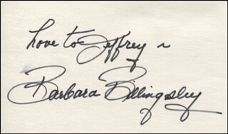 BARBARA BILLINGSLEY - AUTOGRAPH NOTE SIGNED