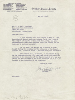 J. WILLIAM FULBRIGHT - TYPED LETTER SIGNED 05/22/1956