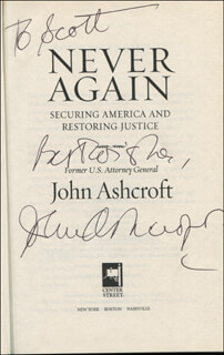 Autographs: JOHN ASHCROFT - INSCRIBED BOOK SIGNED