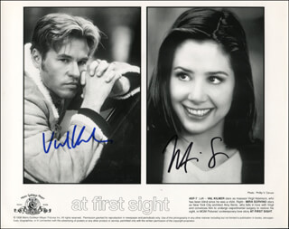 Autographs: AT FIRST SIGHT MOVIE CAST - PRINTED PHOTOGRAPH SIGNED IN INK CO-SIGNED BY: VAL KILMER, MIRA SORVINO