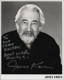 JAMES KAREN - INSCRIBED PRINTED PHOTOGRAPH SIGNED IN INK