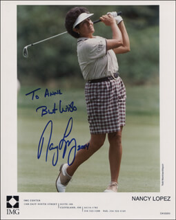 NANCY LOPEZ - INSCRIBED PRINTED PHOTOGRAPH SIGNED IN INK