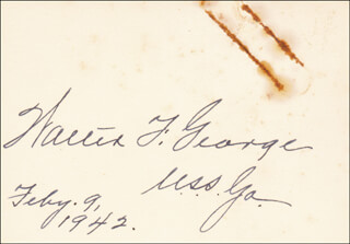 WALTER F. GEORGE - AUTOGRAPH 02/09/1942