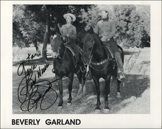 BEVERLY GARLAND - INSCRIBED PRINTED PHOTOGRAPH SIGNED IN INK