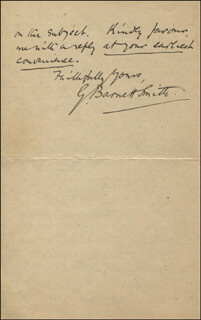 GEORGE BARNETT SMITH - AUTOGRAPH LETTER SIGNED 12/03/1884