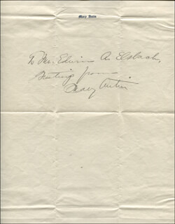 Autographs: MARY ANTIN - AUTOGRAPH NOTE SIGNED CIRCA 1921