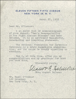 ELEANOR ROBSON BELMONT - TYPED LETTER SIGNED 03/27/1952