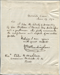 Autographs: GOVERNOR WILLIAM ALFRED BUCKINGHAM - AUTOGRAPH LETTER SIGNED 06/29/1874