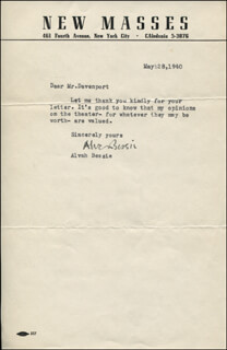 ALVAH BESSIE - TYPED NOTE SIGNED 03/28/1940