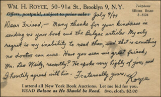 WILLIAM HOBART ROYCE - AUTOGRAPH LETTER SIGNED 07/09/1949