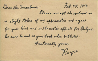 WILLIAM HOBART ROYCE - AUTOGRAPH LETTER SIGNED 02/28/1950