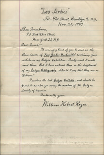WILLIAM HOBART ROYCE - AUTOGRAPH LETTER SIGNED 11/25/1947