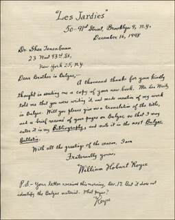 WILLIAM HOBART ROYCE - AUTOGRAPH LETTER SIGNED 12/16/1948