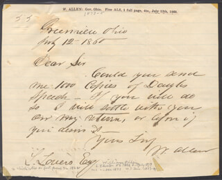 WILLIAM ALLEN - AUTOGRAPH LETTER SIGNED 07/12/1860