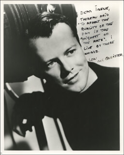 LON McCALLISTER - AUTOGRAPH QUOTATION ON PHOTOGRAPH SIGNED