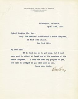 GEORGE GRAY - TYPED LETTER SIGNED 04/11/1907
