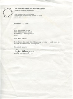 ARTHUR M. SCHLESINGER JR. - TYPED LETTER SIGNED 11/17/1980