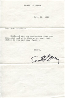 ERNEST K. GANN - TYPED LETTER SIGNED 10/16/1980