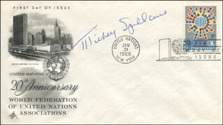 MICKEY SPILLANE - FIRST DAY COVER SIGNED