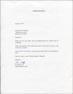 LOU HOLTZ - TYPED LETTER SIGNED 04/22/1997