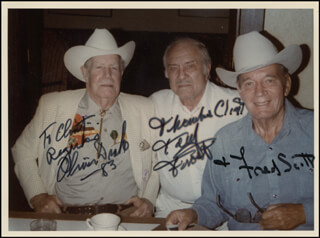 OLIVER DRAKE - AUTOGRAPHED INSCRIBED PHOTOGRAPH 1983 CO-SIGNED BY: FRED L. THE SINGING BUCKAROO SCOTT, TERRY FROST