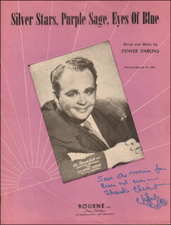 CLIFFIE STONE - INSCRIBED SHEET MUSIC SIGNED