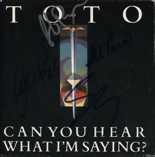 TOTO - RECORD ALBUM COVER SIGNED CO-SIGNED BY: TOTO (STEVE LUKATHER), TOTO (MIKE PORCARO), TOTO (DAVID PAICH), TOTO (STEVE PORCARO)