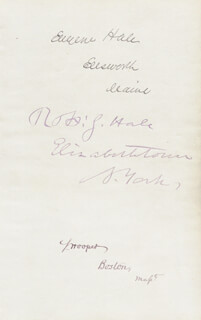 Autographs: EUGENE HALE - SIGNATURE(S) CO-SIGNED BY: ROBERT SAFFORD HALE, SAMUEL HOOPER