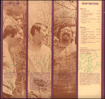 THE BERETS - INSCRIBED RECORD ALBUM COVER SIGNED CO-SIGNED BY: THE BERETS (JOE SALAZAR), THE BERETS (CHIP NAVARRO), THE BERETS (JOHN ALVAREZ)