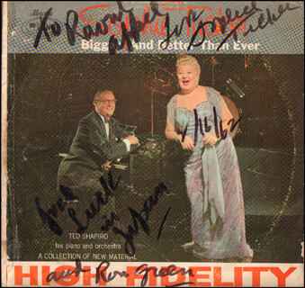 SOPHIE TUCKER - INSCRIBED RECORD ALBUM COVER SIGNED 01/16/1962