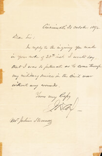 MAJOR GENERAL JACOB D. COX - AUTOGRAPH LETTER SIGNED 10/31/1892