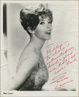 SHARI LEWIS - INSCRIBED PRINTED PHOTOGRAPH SIGNED IN INK
