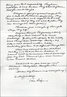 TOM (THOMAS JOSEPH) RIDGE - AUTOGRAPH LETTER SIGNED 06/09/2014