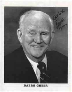 DABBS GREER - PRINTED PHOTOGRAPH SIGNED IN INK
