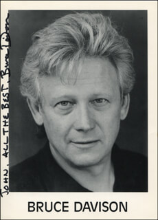BRUCE DAVISON - INSCRIBED PRINTED PHOTOGRAPH SIGNED IN INK