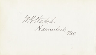 WILLIAM H. HATCH - AUTOGRAPH CO-SIGNED BY: JAMES HERRON HOPKINS