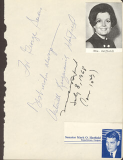 MARK O. HATFIELD - AUTOGRAPH 07/08/1968 CO-SIGNED BY: ANTOINETTE (MRS. MARK) HATFIELD