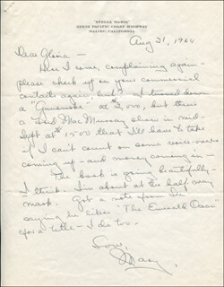Autographs: MARY ASTOR - AUTOGRAPH LETTER SIGNED 08/21/1964