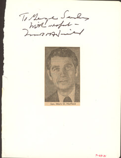 MARK O. HATFIELD - AUTOGRAPH NOTE SIGNED