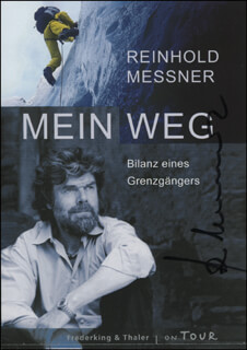 REINHOLD MESSNER - PRINTED ADVERTISEMENT SIGNED IN INK