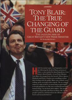 PRIME MINISTER TONY BLAIR (GREAT BRITAIN) - MAGAZINE ARTICLE SIGNED