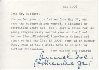 ANNELIESE ROTHENBERGER - TYPED LETTER SIGNED 05/2006